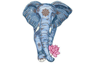 Elephant Holding a Lotus Flower Wild Animals Embroidery Design By Dizzy Embroidery Designs