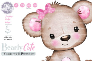Print on Demand: Girl Teddy Bear Brown Pink Clip Art, PNG Graphic Illustrations By clipArtem