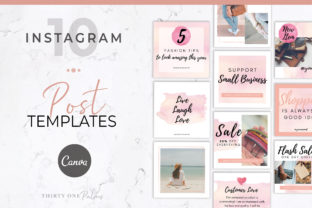 Instagram Posts for Canva   Watercolor Graphic Graphic Templates By Thirty One Palms Studio