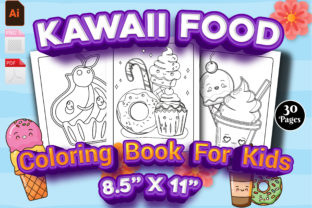 Print on Demand: Kawaii Food Coloring Page for Kids - KDP Graphic KDP Interiors By Family Color