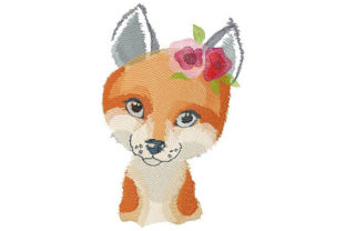 Lady Fox with Flowers on Her Head Wild Animals Embroidery Design By Dizzy Embroidery Designs