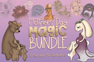 Mothers Day Magic Bundle -Animal Mothers Graphic Illustrations By Afrin_Art