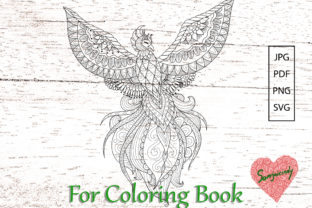 Phoenix for Adult Coloring Book. Graphic Coloring Pages & Books Adults By somjaicindy