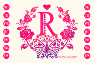 Print on Demand: Rose Butterfly Monogram Decorative Font By utopiabrand19
