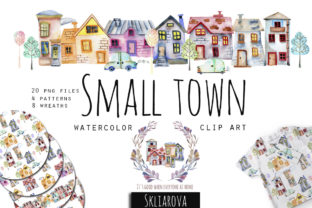 Small Town. Watercolor Clipart. Graphic Illustrations By HappyWatercolorShop