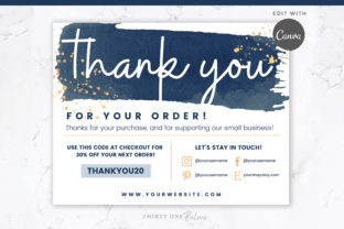 Thank You Order Card for Canva Graphic Graphic Templates By Thirty One Palms Studio