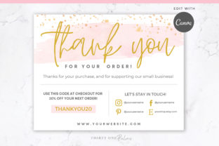 Thank You Order Card for Canva | Pink Graphic Print Templates By Thirty One Palms Studio