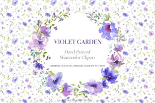 Print on Demand: Violet Garden - Watercolor Flower Graphic Illustrations By MariaScaroniAtelier