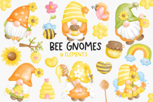 Print on Demand: Watercolor Bee Gnomes Clipart, Bee Gnome Graphic Illustrations By Chonnieartwork