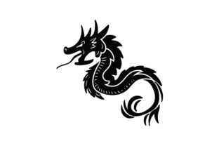 Black Line Art Dragon Designs & Drawings Craft Cut File By Creative Fabrica Crafts