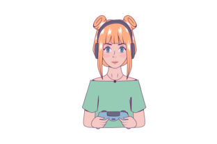 Gamer Girl in Anime-style Video Games Craft Cut File By Creative Fabrica Crafts