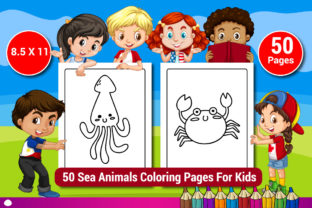 50 Sea Animals Coloring Pages for Kids Graphic Coloring Pages & Books Kids By Sharif54