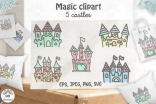 Print on Demand: Castle Clipart. Baby Shower Clipart Graphic Illustrations By OK-Design 1