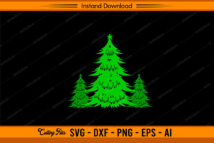 Christmas Tree Green Design Graphic Print Templates By sketchbundle