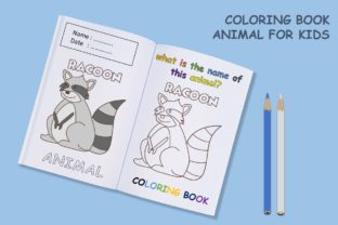 Coloring Book Animal with Name - Racoon Graphic Coloring Pages & Books Kids By 57creative