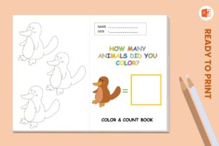 Coloring & Counting Animal Book Platypus Graphic Teaching Materials By 57creative