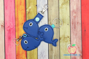 Cute Blue Whale Keyfob Keychain ITH Marine Mammals Embroidery Design By embroiderydesigns101