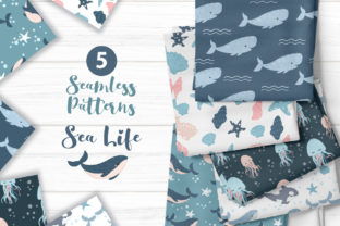 Print on Demand: Cute Ocean Seamless Pattern Collection Graphic Patterns By DrawStudio1988
