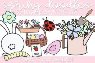 Print on Demand: Cute Spring Doodles | Color + B&W Graphic Illustrations By Fairways and Chalkboards