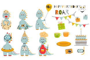 Cute Dinosaurs Collection. Dino Set for Graphic Illustrations By NadineStore