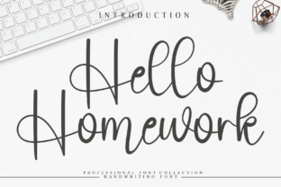 Print on Demand: Hello Homework Script & Handwritten Font By andikastudio
