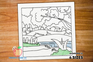 Landscape HillStation Scene Cities & Villages Embroidery Design By embroiderydesigns101