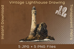 Print on Demand: Lighthouse Vintage Ocean Art Drawing Graphic Illustrations By Vintage 12by12