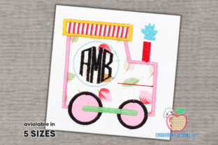 Monogram and Train Applique Design Backgrounds Embroidery Design By embroiderydesigns101