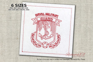 Naval Military Guard Redwork Design Military Embroidery Design By Redwork101