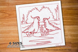 Pair of Cockatoo Bluework Birds Embroidery Design By Redwork101