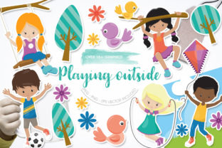Print on Demand: Playing Outside Graphic Graphic Templates By Prettygrafik