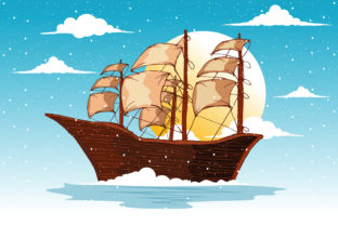 Print on Demand: Sailboat in the Ocean with Sunset Vector Graphic Illustrations By edywiyonopp