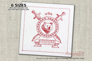 Security Sign Redwork Backgrounds Embroidery Design By Redwork101