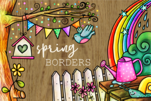 Print on Demand: Spring Borders Watercolor Doodle Frames Graphic Backgrounds By Prawny