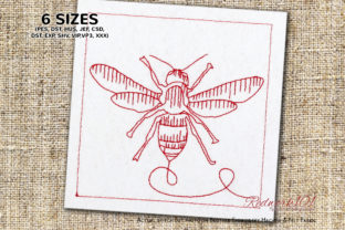 Striped Hornet Wasp Machine Bugs & Insects Embroidery Design By Redwork101