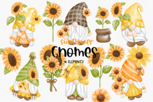 Print on Demand: Sunflower Gnomes Clipart Bundle Graphic Illustrations By Chonnieartwork