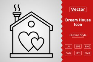 Print on Demand: Vector Dream House Outline Icon Design Graphic Icons By Muhammad Atiq