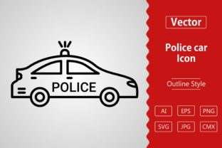 Print on Demand: Vector Police Car Outline Icon Design Grafik Icons von Muhammad Atiq