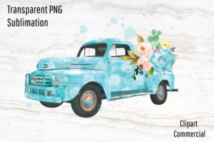 Print on Demand: Vintage Truck with Watercolor Flowers Graphic Graphic Templates By Blueberry Jam Design