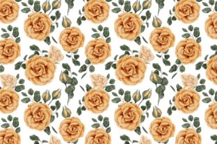 Print on Demand: Watercolor Yellow Rose Flower Pattern Graphic Patterns By elsabenaa