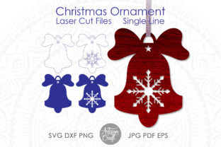 Print on Demand: Bell Christmas Ornaments,Single Line SVG Graphic 3D Christmas By Artisan Craft SVG