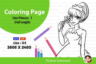 Cute Princess Coloring Page Graphic Coloring Pages & Books By thidarat.suteeratat