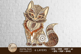 Multilayer Laser Cut File KITTY Graphic 3D SVG By LaserCutano