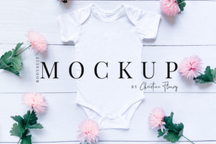 Print on Demand: Spring Flowers Baby Bodysuit Mockup Graphic Product Mockups By Christine Fleury