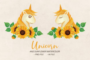 Sunflower Unicorn Watercolor ClipArt PNG Graphic Print Templates By UrufaArt