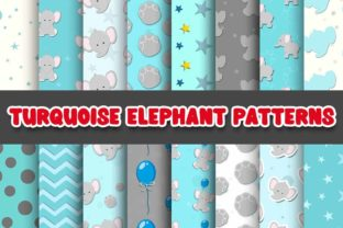 Print on Demand: Turquoise Elephant Digital Paper Pattern Graphic Patterns By Grafixeo