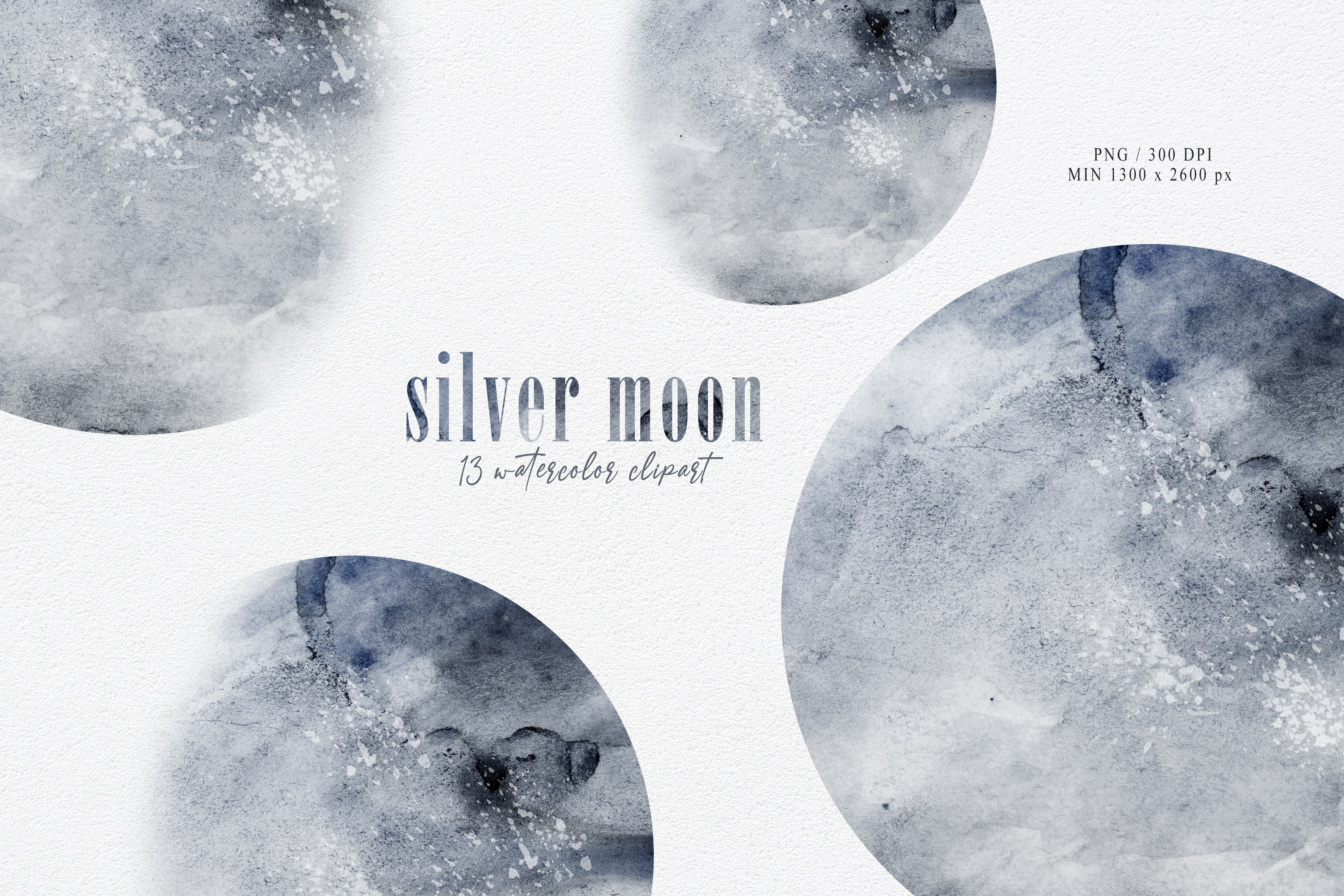 Watercolor Moon Phase Clipart- Png Files SVG File