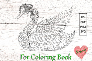 Abstract Swan for Adult Coloring Book Graphic Coloring Pages & Books Adults By somjaicindy