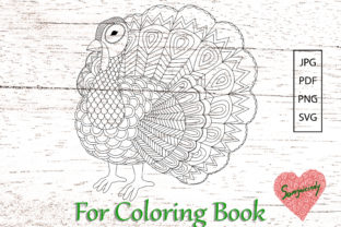 Abstract Turkey for Adult Coloring Book. Graphic Coloring Pages & Books Adults By somjaicindy