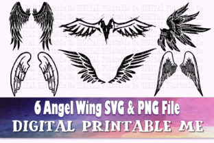 Print on Demand: Angel Wings Svg, Silhouette PNG Feather Graphic Crafts By DigitalPrintableMe